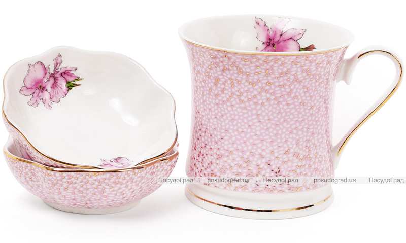 """Набор 2 фарфоровые пиалы (розетки) Golden Iris """"Розовый ирис"""" по 120мл"""