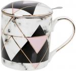 """Кружка-заварник """"Черный мрамор"""" 380мл, с металлическим ситом, черный с розовым"""
