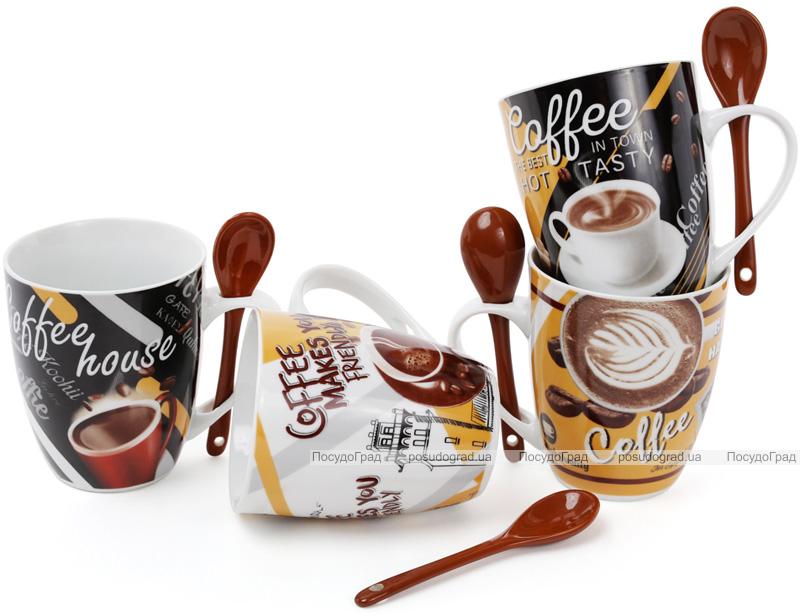 """Кружка фарфоровая """"Coffee in the town"""" 350мл с керамической ложкой"""