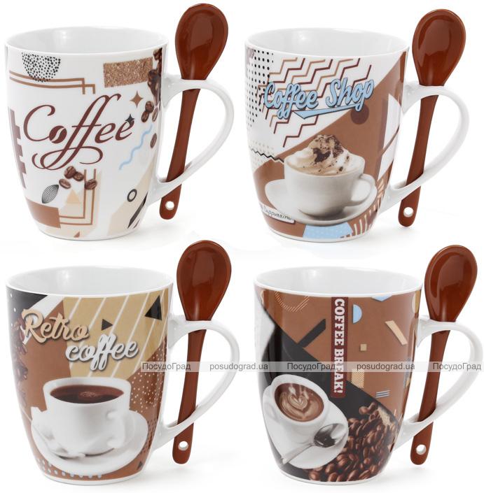 """Кружка фарфоровая """"Retro Coffee"""" 350мл с керамической ложкой"""