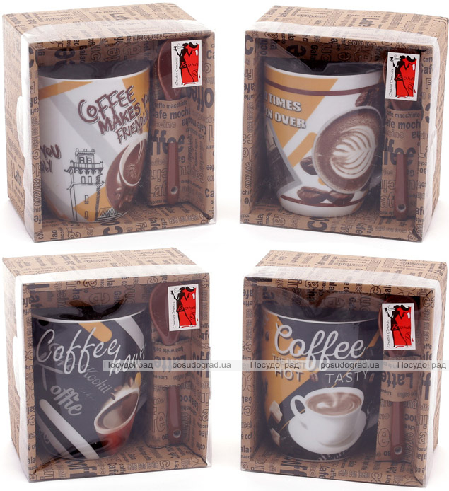 """Кружка фарфоровая """"Coffee in the town"""" 350мл с керамической ложкой, в подарочной коробке"""