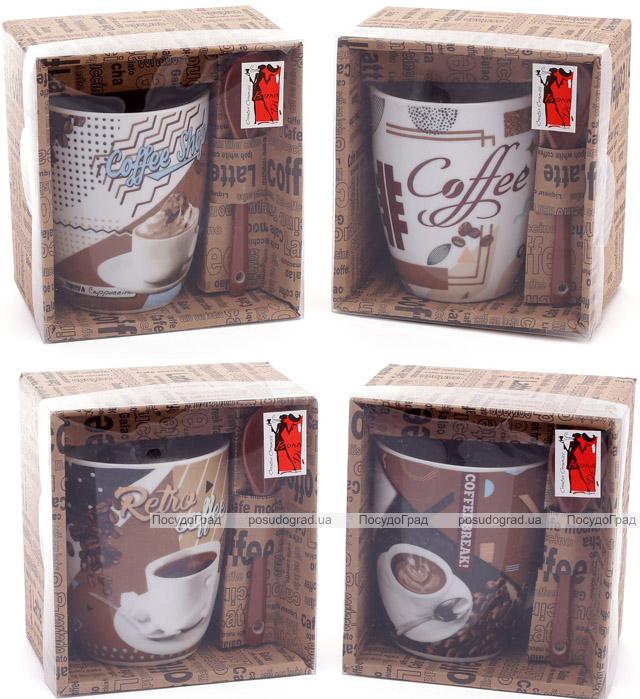 """Кружка фарфоровая """"Retro Coffee"""" 350мл с керамической ложкой, в подарочной коробке"""