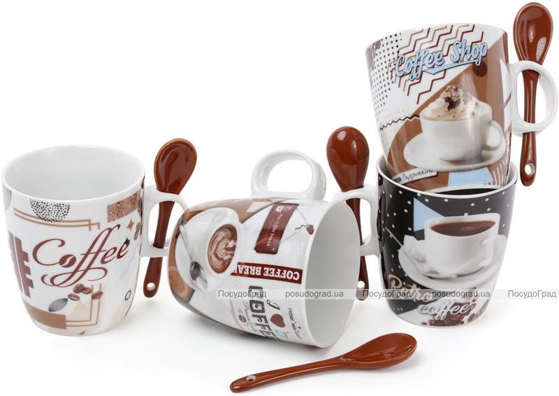 """Набор 4 кружки """"Retro Coffee"""" 250мл с керамическими ложками, в подарочной коробке"""