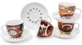 Кавовий набір Coffee shop&bakery 4 чашки 225мл з блюдцями