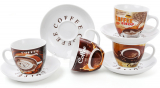 Кофейный набор Coffee shop&bakery 4 чашки 225мл с блюдцами