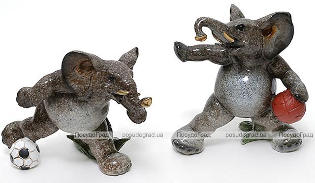 """Набор 2 статуэтки """"Слоны футболисты"""" 14см, искусственный камень"""
