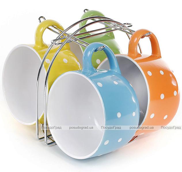"""Набор 4 керамические кружки """"Белый горох"""" 450мл на подставке"""