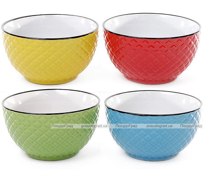 """Набор 4 цветные керамические миски """"Сетка"""" 650мл"""