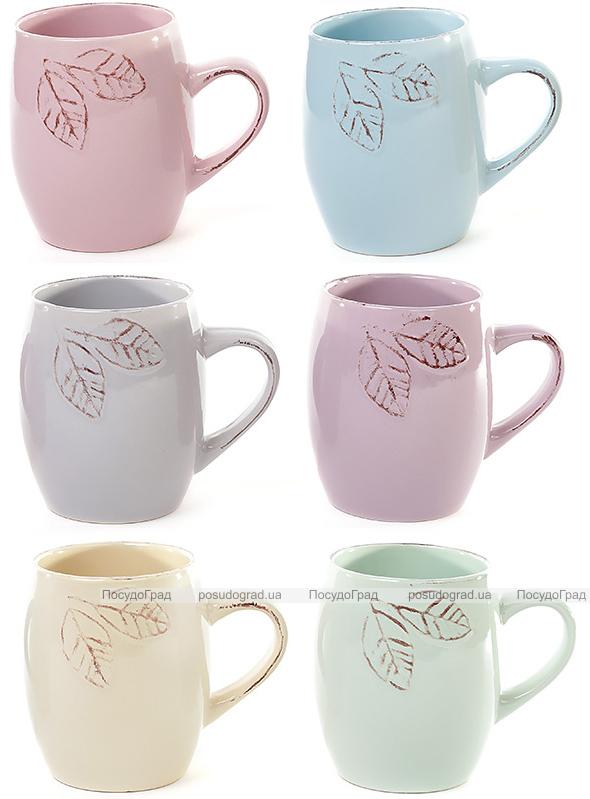 """Набор 6 керамических кружек Shabby Chic """"Листик"""" 450мл, цветные"""