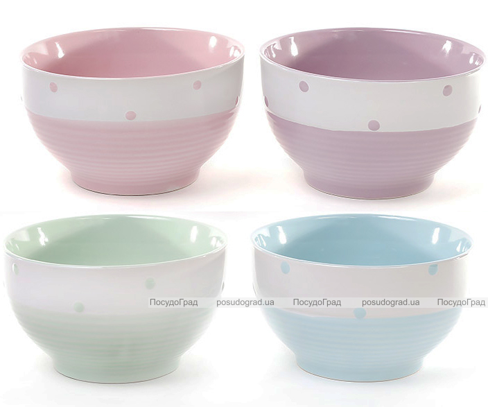"""Набор 4 цветные миски """"Цветной горох"""" 650мл, керамика"""