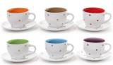 """Чайный набор """"Цветной горох"""" 6 чашек 230мл и 6 блюдец"""