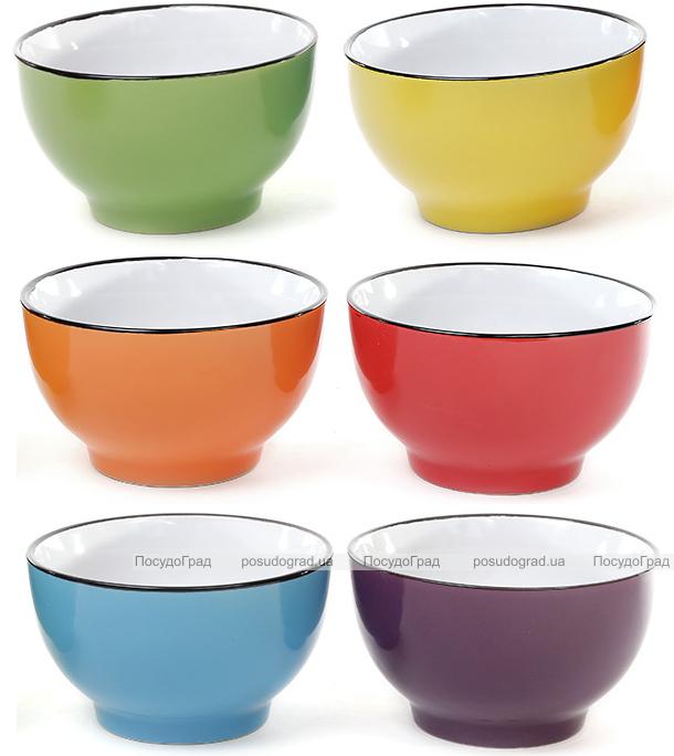 """Набор 6 цветных керамических мисок """"Радуга"""" 650мл"""
