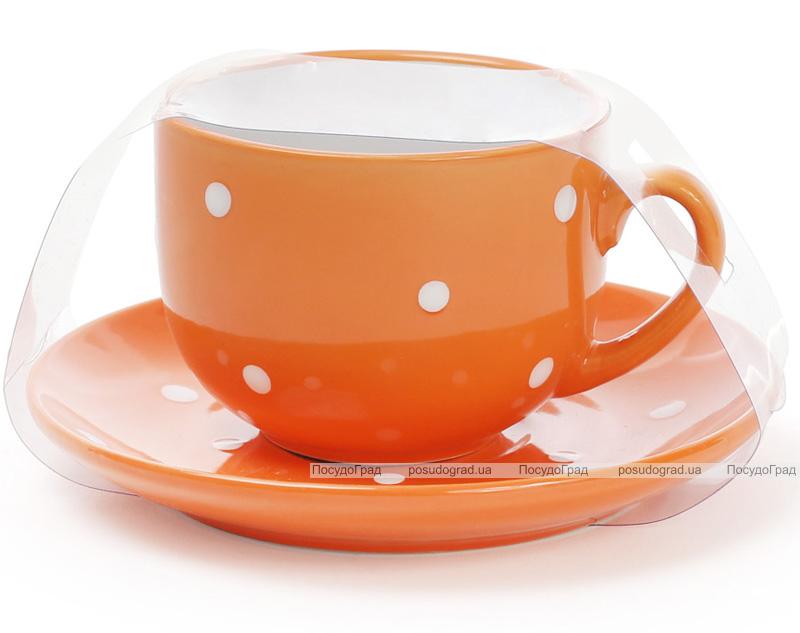 """Чайный набор """"Белый горох"""" 6 чашек 250мл и 6 блюдец"""