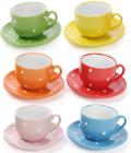 """Чайний набір """"Білий горох"""" 6 чашок 250мл і 6 блюдець"""