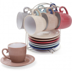 "Набор 6 керамических чашек ""Артемида"" 250мл с блюдцами на подставке"
