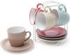 """Набір 4 керамічні чашки """"Артеміда"""" 250мл з блюдцями на підставці"""