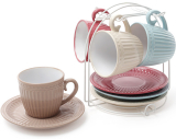 Набір 4 керамічні чашки Артеміда 250мл з блюдцями на підставці