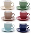 """Набір 6 керамічних чашок """"Артеміда"""" 250мл з блюдцями"""