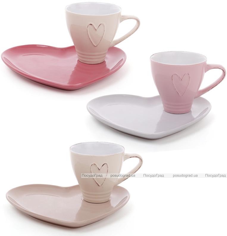 """Чайная подарочная пара Shabby Chic """"Сердце"""" чашка 250мл с блюдцем"""