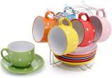 """Чайний набір """"Кольоровий горох"""" Яскравий Мікс 6 чашок 250мл з блюдцями, на підставці"""