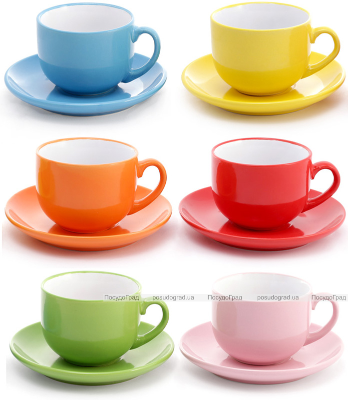 """Чайный набор """"Яркий микс"""" 6 чашек 250мл с блюдцами"""