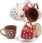 """Набор 6 кружек """"Цветной горох"""" Кофе-Крем 240мл на подставке, с тиснением"""