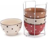 """Набор 4 керамические пиалы """"Цветной горох"""" Кофе-Крем 500мл на подставке"""