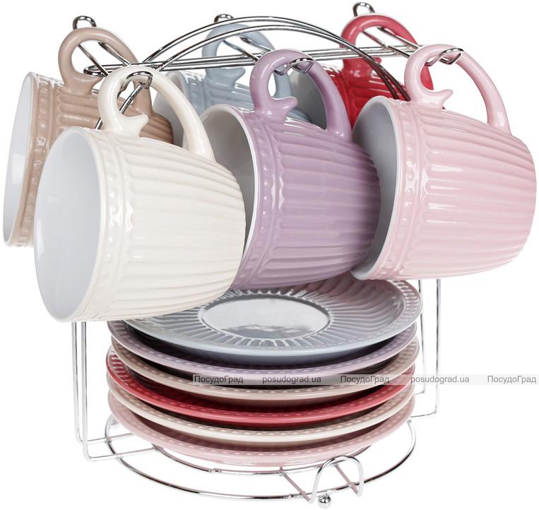 """Набір 6 керамічних чашок """"Артеміда"""" Cream 250мл з блюдцями на підставці"""