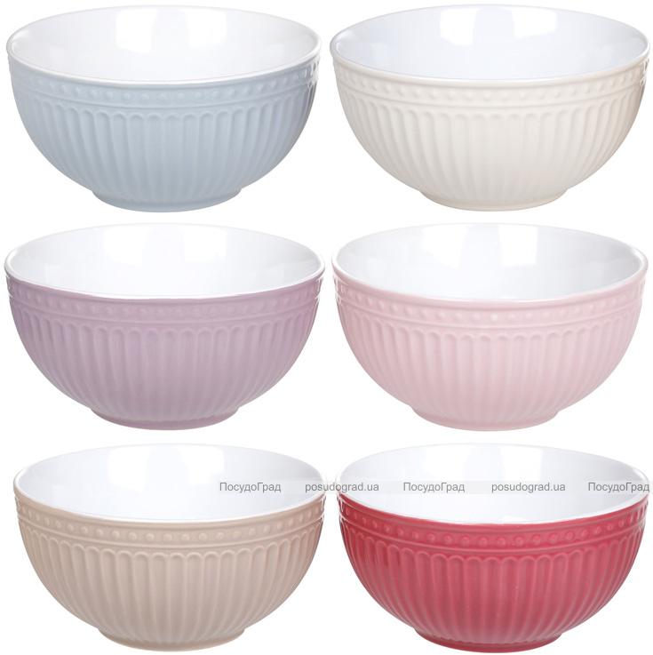 """Набор 6 керамических пиал """"Артемида"""" Cream 600мл, цветные салатники"""