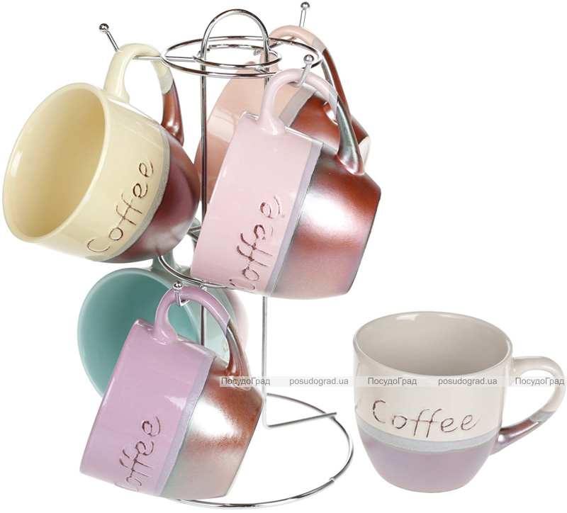 """Набір 6 керамічних кружок """"Cup of coffee"""" 240мл на підставці"""