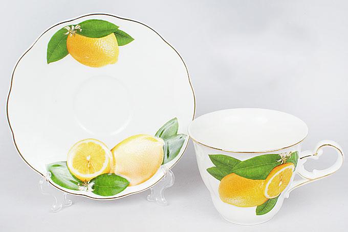 """Чайная пара """"Лимон"""" чашка 220мл с блюдцем, фарфор"""