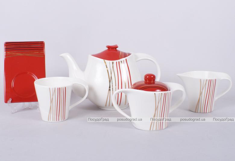 Чайный набор Gold&Red-I 220мл 15 предметов на 6 персон