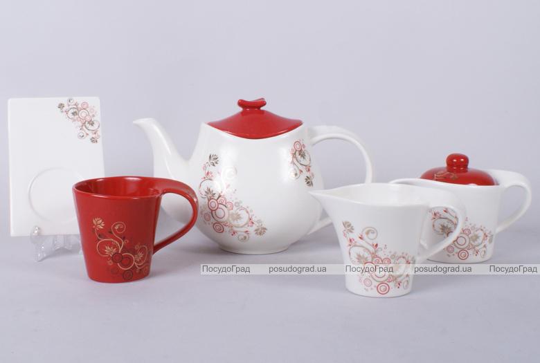 Чайный набор Gold&Red-II 220мл 15 предметов на 6 персон