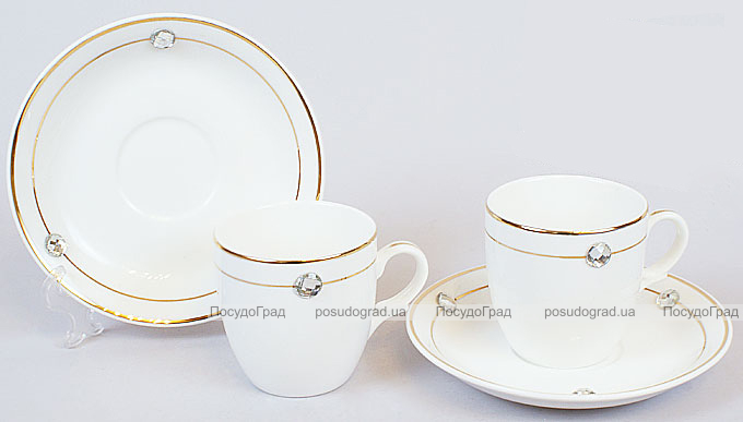 Кофейный набор White Princess 2 чашки 100мл с блюдцами и декоративными кристаллами