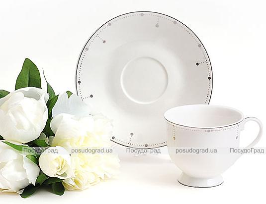 Чайная подарочная пара Silver Glade-48 чашка 180мл с блюдцем в подарочной коробке