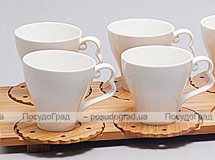 Набор чашек Ceram-Bamboo 160мл 12 предметов на бамбуковом подносе