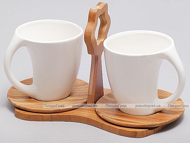 Набор кружек Ceram-Bamboo 230мл на бамбуковой подставке с ручкой