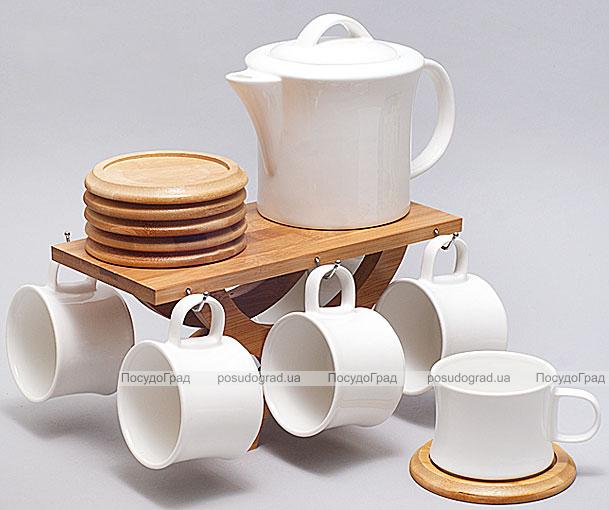 Набор для чая и кофе Ceram-Bamboo 150мл 13 предметов на бамбуковой подставке