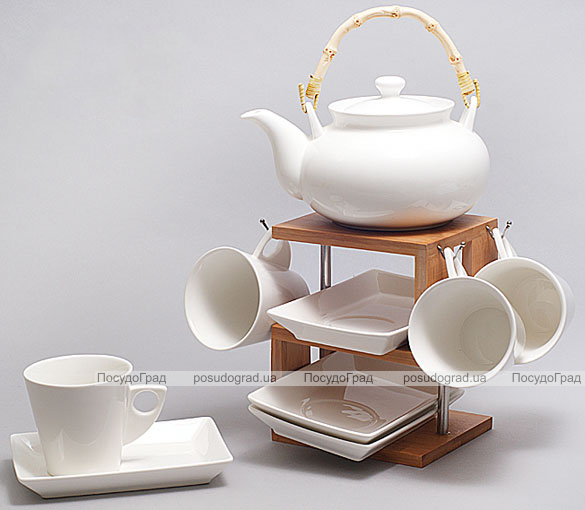 Набор для чая и кофе Ceram-Bamboo 190мл на бамбуковом подносе и прямоугольными блюдцами