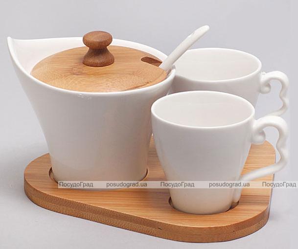 Набор для эспрессо Ceram-Bamboo 75мл с сахарницей на бамбуковой подставке