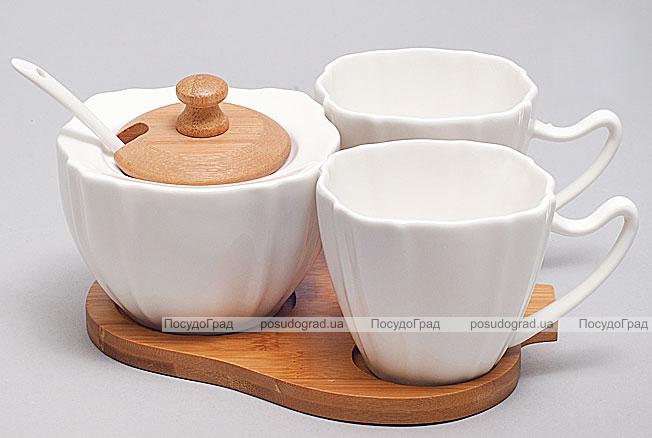 Набор для эспрессо Ceram-Bamboo 80мл с сахарницей на бамбуковой подставке