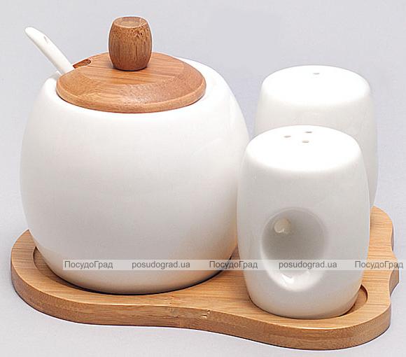 Набор для специй Ceram-Bamboo на бамбуковой подставке и сахарница