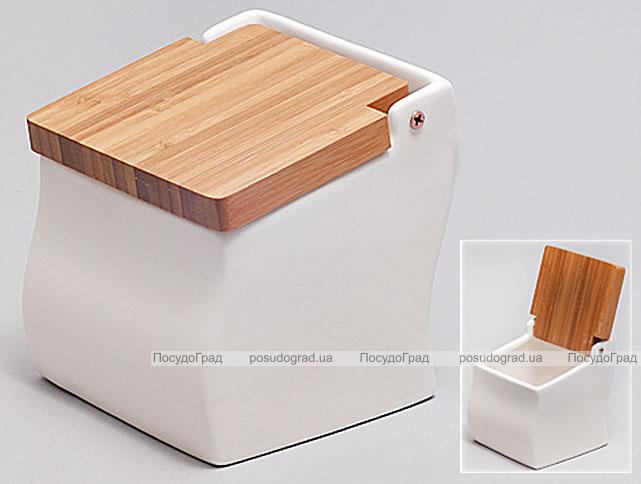 Банка Ceram-Bamboo для сахара, соли или специй с бамбуковой откидной крышкой
