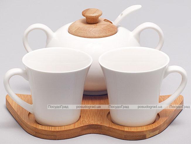 Набор для эспрессо Ceram-Bamboo 70мл с сахарницей на бамбуковой подставке