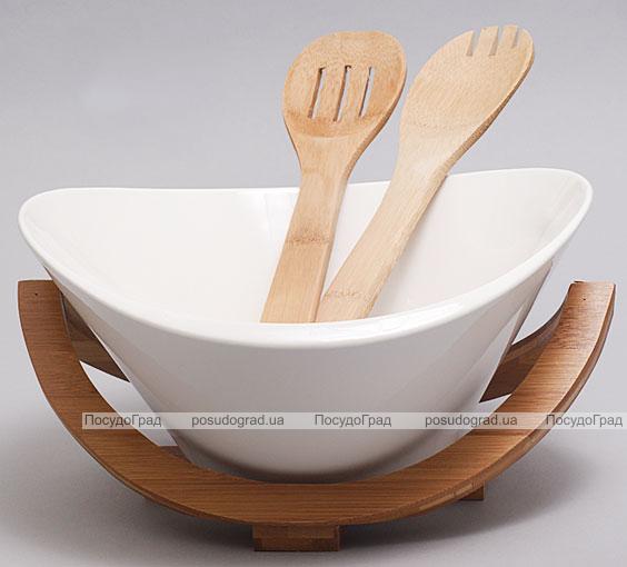 Салатник фарфоровый Ceram-Bamboo овальный на деревянной подставке и две кухонные лопатки