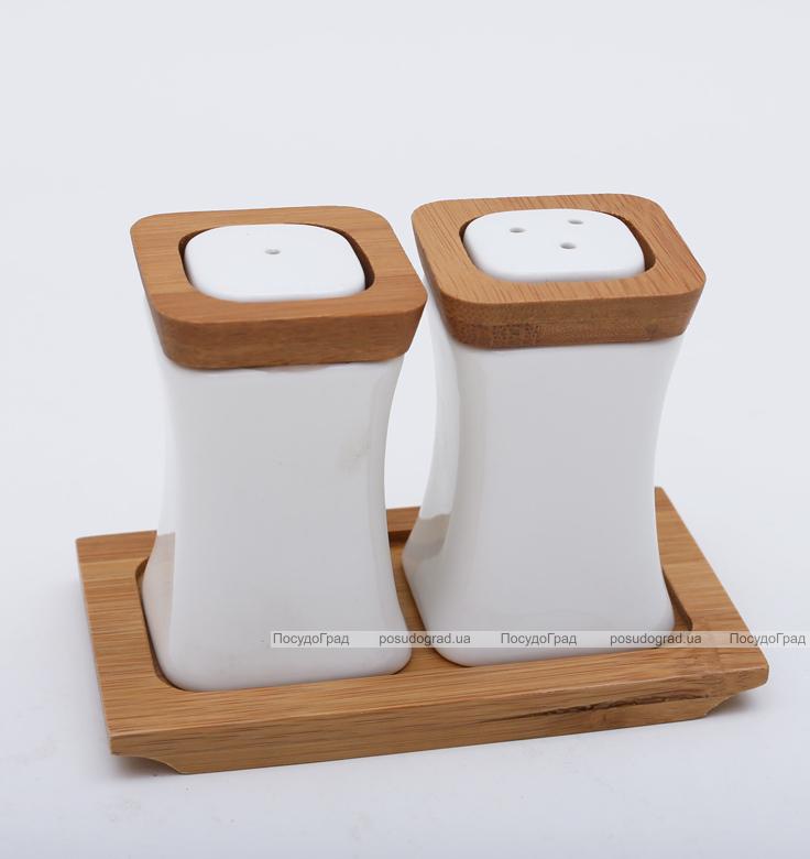 Спецовники сервировочные Ceram-Bamboo соль/перец на деревянном блюдце