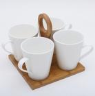 Чайний набір Ceram-Bamboo 4 кружки 245мл на підставці