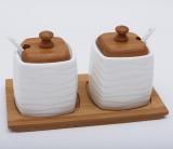 Набор банок Ceram-Bamboo по 280мл для сахара и специй, 2 ложки