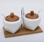 Набор банок Ceram-Bamboo по 265мл для сахара и специй, 2 ложки