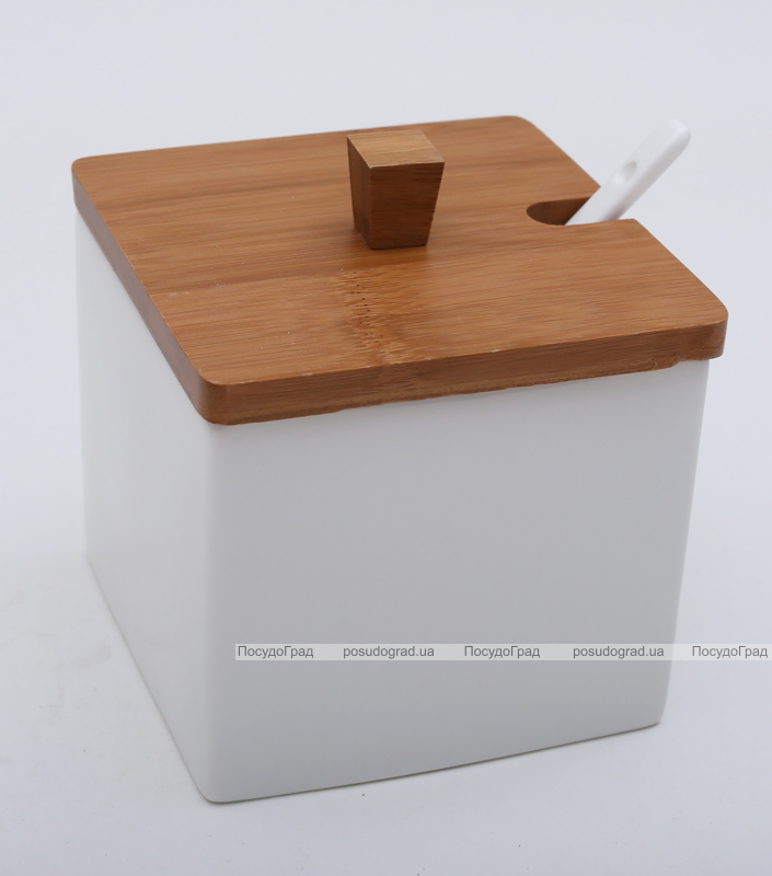 Банка Ceram-Bamboo 600мл для сахара, соли или специй, квадратная